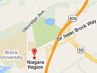 Niagara Region is located at the corner of St. David's Road and Glenridge Ave, across from Brock University