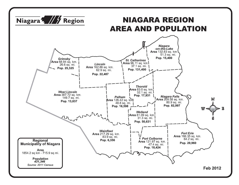 Niagara Region Map Niagara Region Population by Municipality, 1996 2016   Niagara