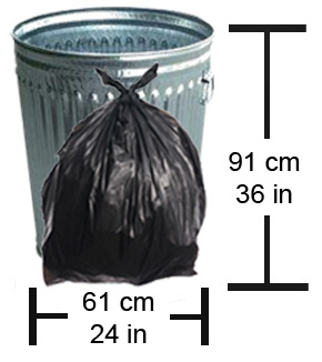 Garbage bags must not exceed a height of 91cm (36 inches) and a diameter of 61 cm (24 inches)