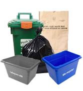 Blue box, grey box, green bin, yard waste