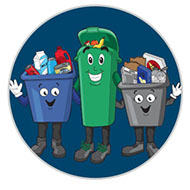 Blue box, grey box and green bin mascots